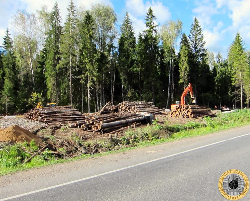 Лес рубят, брёвна летят на трассе А-107 между Волоколамским и Пятницким шоссе