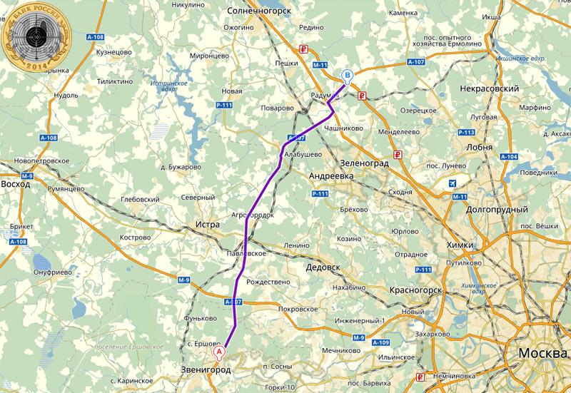 Автодорога А-107 Малое Бетонное Кольцо на Яндекс-Карте от Ильинского шоссе под Звенигородом до платной дороги М-11
