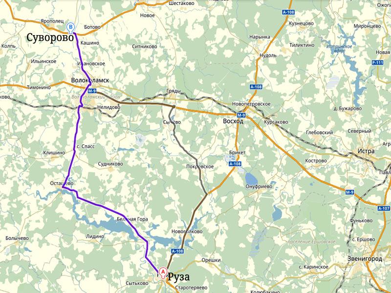 Автодорога «Руза - Суворово» А108 на Яндекс-Карте