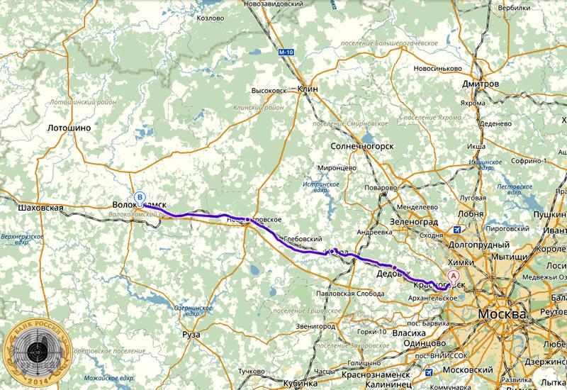Волоколамское шоссе на Яндекс-Карте