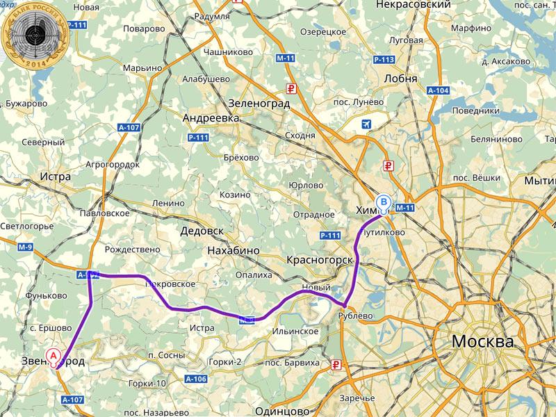 Маршрут на Яндекс-Карте показывает путь от города Звенигорода до пересечения Ленинградского шоссе и МКАД