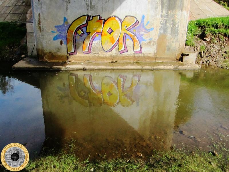 Золево. Граффити отражается в реке Большая Сестра там, где прододит дорога Чисмена-Теряево.