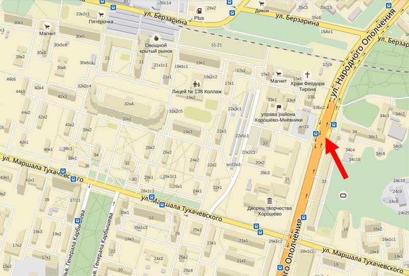 Улица Народного Ополчения в Москве - как найти это мето на Яндекс-Карте