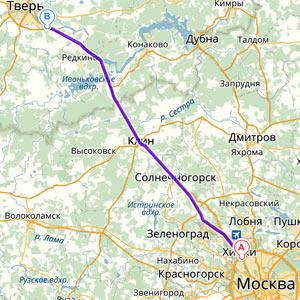 Маршрут Москва-Тверь от МКАД до объездной дороги