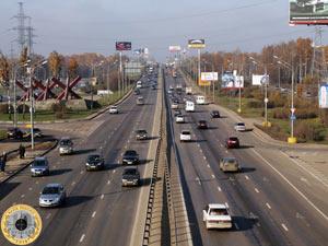Ленинградское шоссе на выезде из города Химки Московской области в сторону Твери