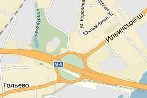 Развязка Новорижского и Ильинского шоссе на окраине города Красногорска