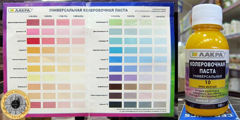 Витрина с колерами в самом большом магазине на Пенягинском строительном рынке в Митино - самые разные цвета и оттенки в разных объемах.