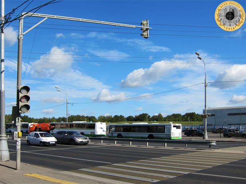 Митино, девятый светофор на Пятницком шоссе. Вид с нечётной стороны.