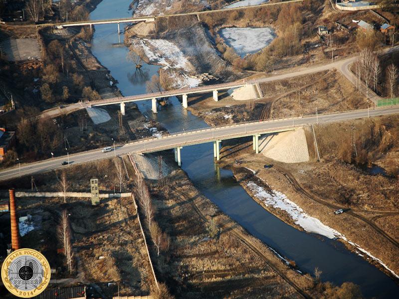 Река Истра у Павловской Слободы, вид с дельтаплана